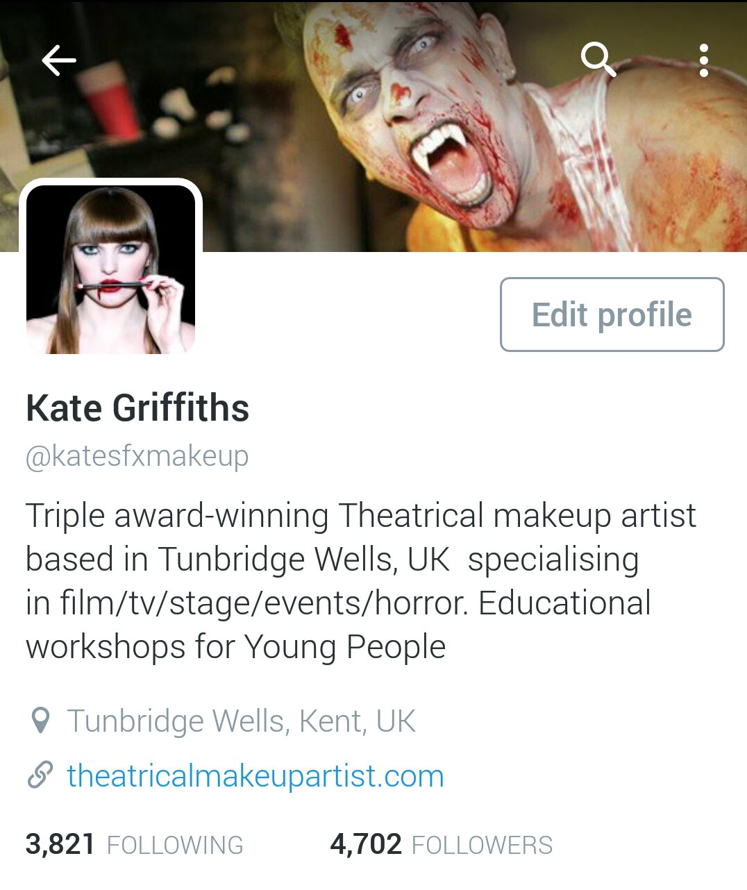 TWITTER, INSTAGRAM and FACEBOOK | Theatrical Make-up Artist
